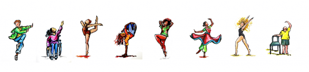 Illustration of 8 young dancers, a mix of make and female moving in different ways. The drawings reflect dancers performing breaking, ballet, contemporary, wheelchair contemporary, kathak and also dancing with a mobility aid.